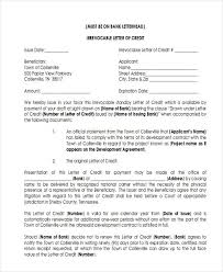 letter of credit irrevocable letter of credit cost letter format