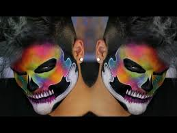 rainbow neon watercolor skull makeup tutorial youtube alex