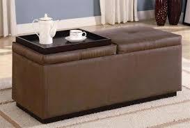 Brown Ottoman Storage Brown Durable Leather Like Vinyl Storage Ottoman W Two Trays