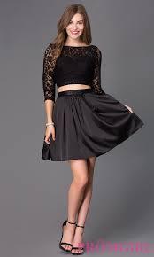 klshort black dresses two sleeved homecoming dress promgirl