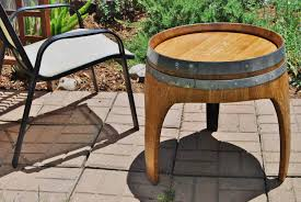 Wine Barrel Patio Table Arched Napa Valley Wine Barrel End Table With 3 Legs Upcycled