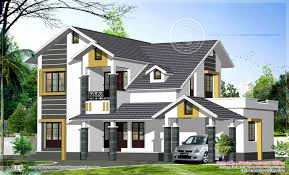 sloping roof home exterior in 2474 sq feet house design plans
