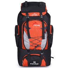 traveling bags images Orange fengtu 80l outdoor large capacity mountaineering bag nylon jpg
