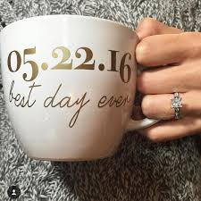 custom best day ever coffee mug for newly engaged bride to be