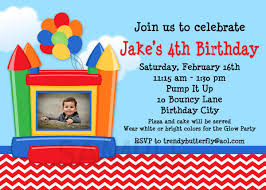 bounce house photo birthday invitations 1st birthday invitation