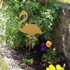set of 3 flamingo garden stakes in gold wybone