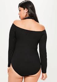Plus Size Bodysuit Blouse Plus Size Black Choker Bardot Bodysuit Missguided