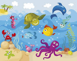 kids photo wallpaper sea creatures wall mural ohpopsi sea creatures under the waves children s wall mural
