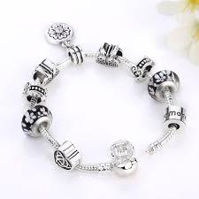 black bead charm bracelet images 2 sizes silver color heart black beads flower dangles charm jpg