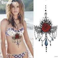 1pc new chest tattoo stickers large flower shoulder arm sternum