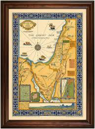 World Map Framed Beautiful Large Pictorial Map Of The Holy Land Xx C