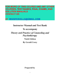 Counseling And Psychotherapy Theories In Context And Practice Pdf Test Bank For Theory And Practice Of Counseling And Psychotherapy