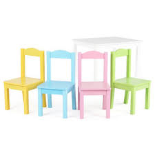 Kids Wooden Table And Chairs Set Tot Tutors Kids Wood Table And 4 Chairs Set White Pastel Pastel