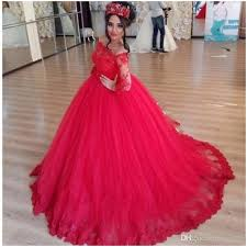 quinceanera dresses long puffy red tulle lace long sleeve ball