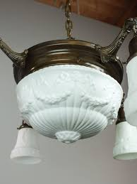 Milk Glass Chandelier Antique Pan Light Fixture With Milk Glass 4 1 Light