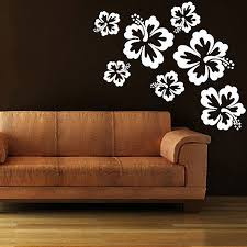 wall stickers funky vinyl decals hibiscus wall sticker set large floral decor