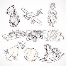 vintage kids toys sketch icons set of teddy bear doll airplane