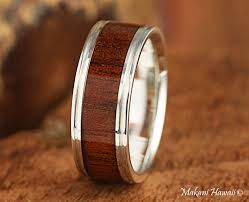 koa wedding bands 925 sterling silver koa wood inlaid mens wedding ring 8mm makani