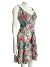 nanette lepore nanette lepore fit flare dress in taupe ikat floral