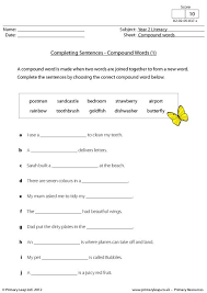 primaryleap co uk completing sentences compound words 1 worksheet