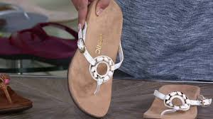 vionic orthotic leather thong sandals ricci on qvc youtube
