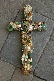 Rhinestone Wall Mirror Hand Designed Vintage Jewelrey Wall Cross W Emerald Rhinestones