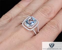 large engagement rings large cushion cut aquamarine diamond halo pave gemstone