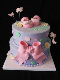 pink and purple buttercream baby shower cake cake by teresa