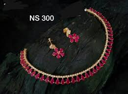 red necklace set images Ankur imitation jewellery gold plated brass red american diamond jpg