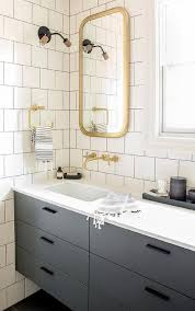 Flat Bathroom Mirrors Enchanting Brass Bathroom Mirror Simple Decoration Gray Floating