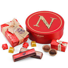 neuhaus round gift box with christmas chocolates delivery in