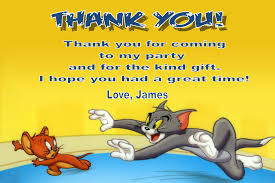 tom and jerry personalised tom and jerry thank you cards