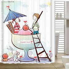 Curtain Cartoon by Myru 2016 New Bathroom Curtain Cartoon Love Story Custom Shower