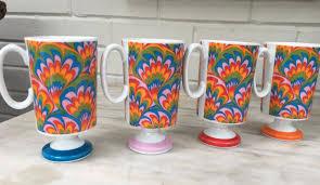vintage peacock pattern mugs fantasia by elena mugs set of