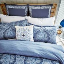 indigo blue paisley pattern bedding echo jakarta at bedeck 1951