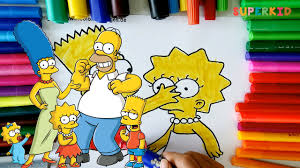 the simpsons family coloring pages learning colors for kids and