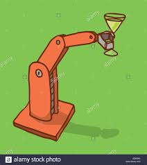 martini cup cartoon cartoon illustration of a robot arm holding a martini glass stock