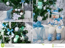 tree and ornaments in blue and mint stock image image