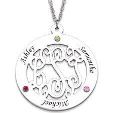 mothers necklace with kids birthstones monogram necklace with birthstones and names monograms initials