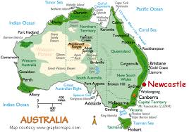 australia map of cities newcastle australia map