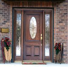 furniture brown wooden entry door with two panel and half oval