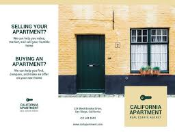 light yellow with green key icon real estate trifold brochure