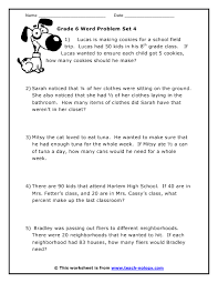 6th grade math word problems worksheet worksheets