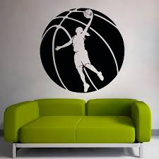 online get cheap basketball wall murals aliexpress com alibaba basketball sport game special designed wall sticker woman player with large basketball silhouettes art wall murals decal w 512