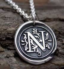 initials necklace silver wax seal initial necklace