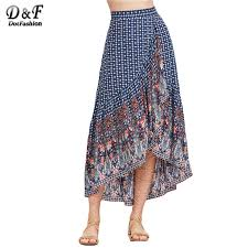 dotfashion vintage long skirts women blue boho ornate print high