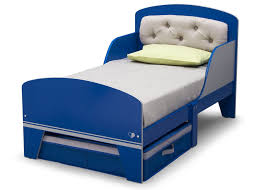 Blue Upholstered Headboard Jack And Jill Toddler Bed With Upholstered Headboard Blue And