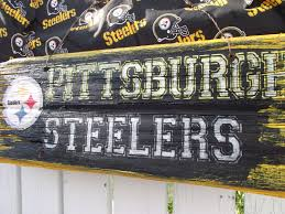 vintage pittsburgh steelers sign reclaimed wood sign recycled wood