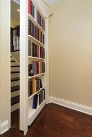 exterior spacious secret bookcase door in library room with