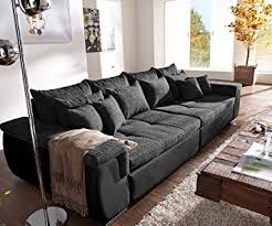 sofa breite sitzflã che sale navin schwarz 275x116 cm sofa mit 12 kissen